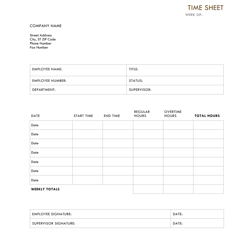 picture regarding Time Sheet Printable identified as 10 Ideal Timesheet Templates in the direction of Observe Effort Several hours