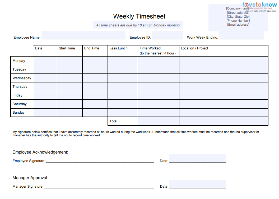image about Free Printable Weekly Time Sheets identified as 10 Simplest Timesheet Templates towards Monitor Exertion Hrs