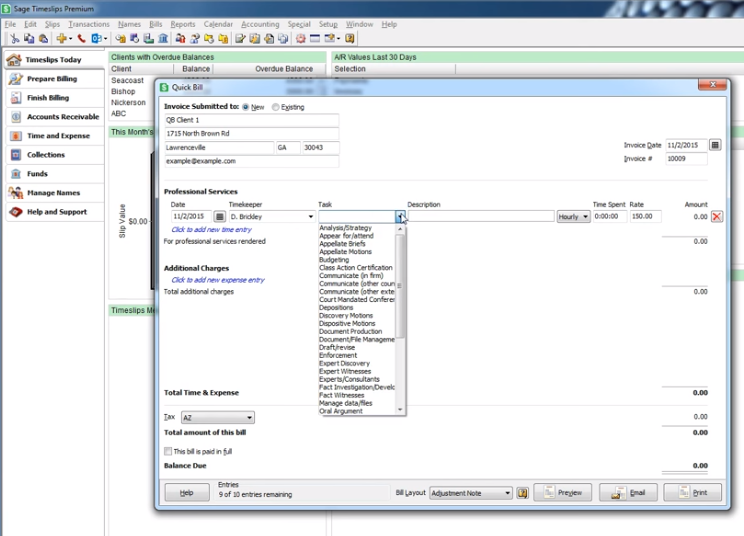 Timekeeping and billing software 4