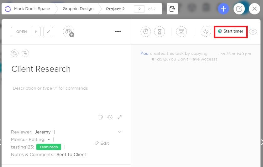 clickup tmetric integration screenshot