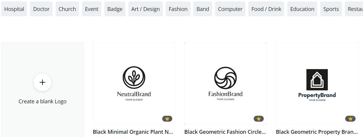 CANVA logo making template screenshot